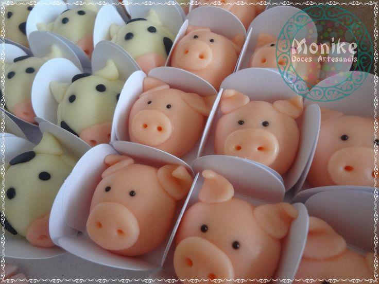Doces modelados Fazendinha- Porquinhos. Shaped candy. Doces Ninho.