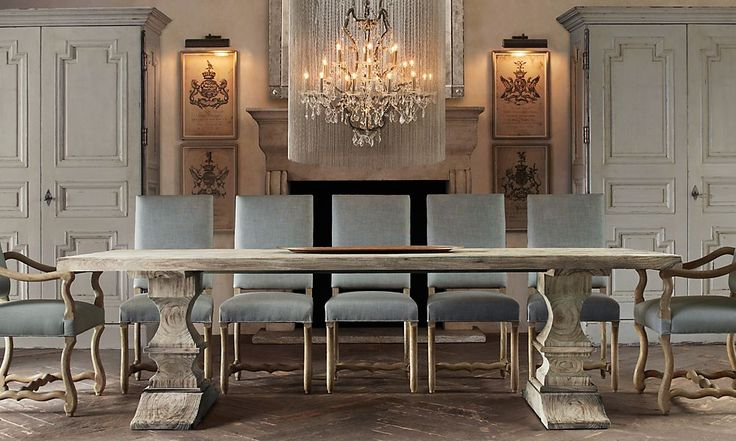 Rooms | Restoration Hardware. Bleached dated wood tresses table french country dining