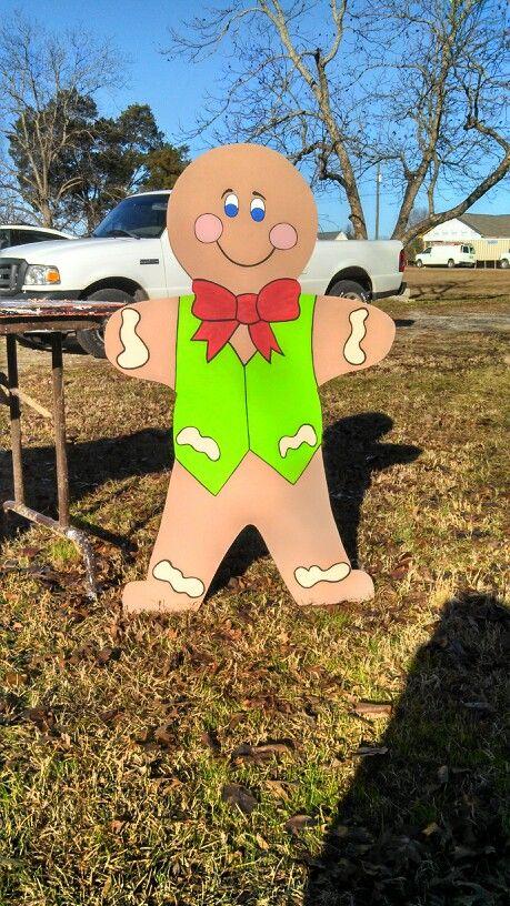 Gingerbread man yard art decoration
