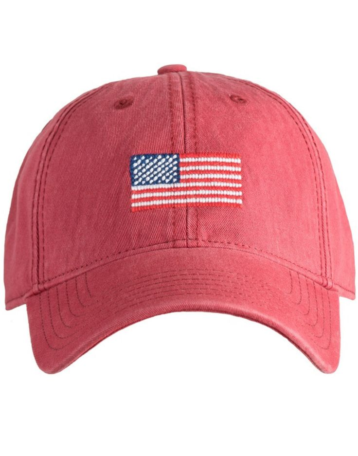 - Needlepoint embroidery of American flag - 6 panel ball cap - Deep fitting and pre-washed - 100% Cotton - White sailcloth adjustable back strap with brass clasp