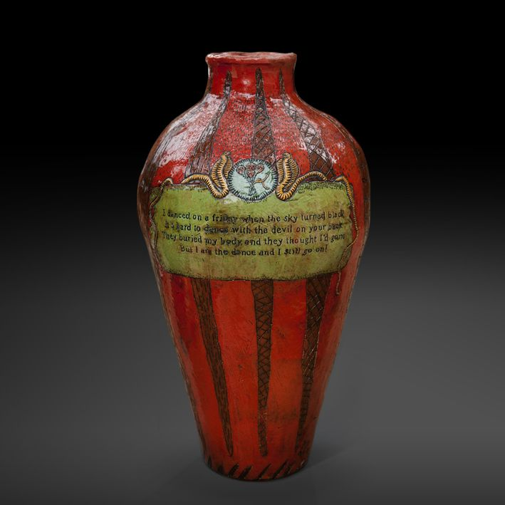 An original vase by Lucinda Mudge entitled: I Danced on a Friday, ceramic, h 58.5 cm For more please visit www.finearts.co.za