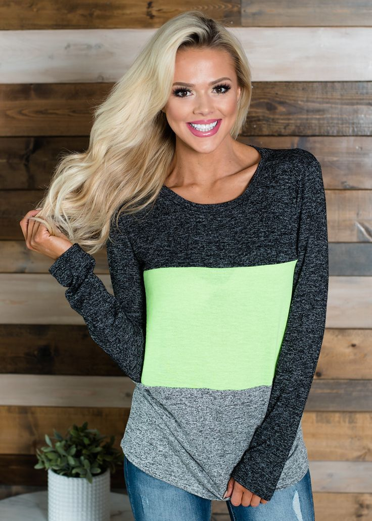 Soft Fluorescent Color Block Top Neon Green, Long Sleeve Top, Top, Women's Boutique, Online Shopping, Fashion, Style,  Modern Vintage Boutique