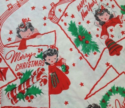 Vintage christmas wrapping paper with embossing