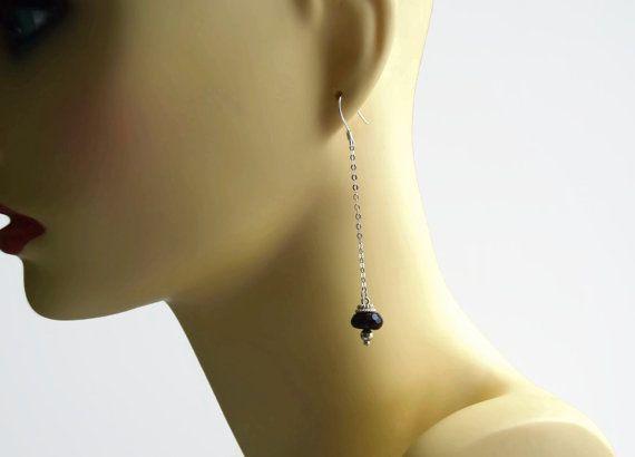 African red garnet drop earrings, chain earrings, January birthstone earrings, ladies earrings, silver earrings UK, garnet jewelry,