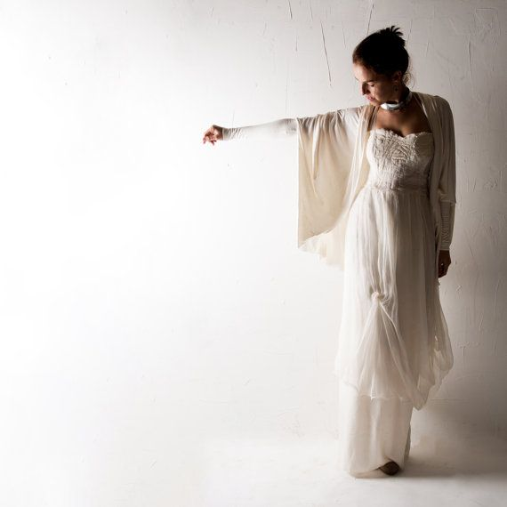 Wedding cardigan Wedding shrug Bridal bolero Long by larimeloom