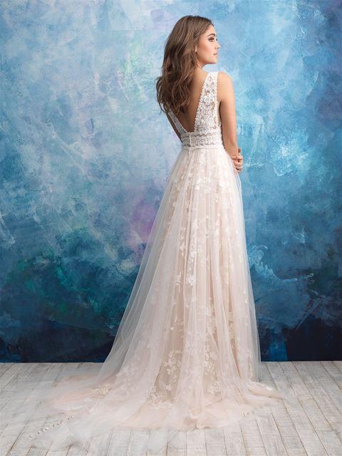 Floral Applique V-neck A-line Wedding Dress