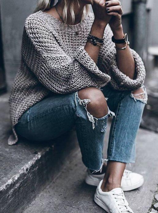 taupe sweaters + distressed denim