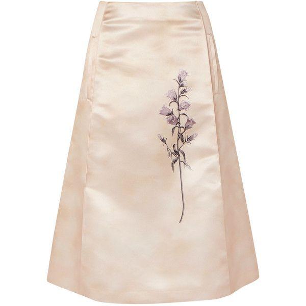 Bottega Veneta Pleated printed duchesse-satin skirt ($890) ❤ liked on Polyvore featuring skirts, pink skirt, floral print a-line skirt, floral print skirt, box pleat skirt and floral knee length skirt