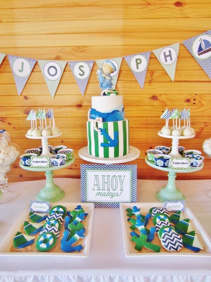 #chevron #BabyShower #Decorations #idea #cake #sailboat (6)