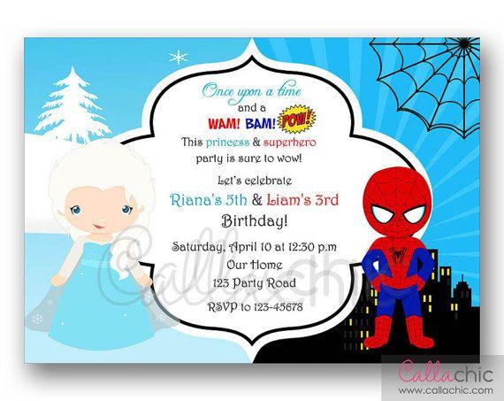 Elsa & Spideman Birthday Invitation PRINTABLE - Twin / Joint / Split / Sibling Party - Boy Girl - Frozen Princess Superhero on Etsy, $14.00