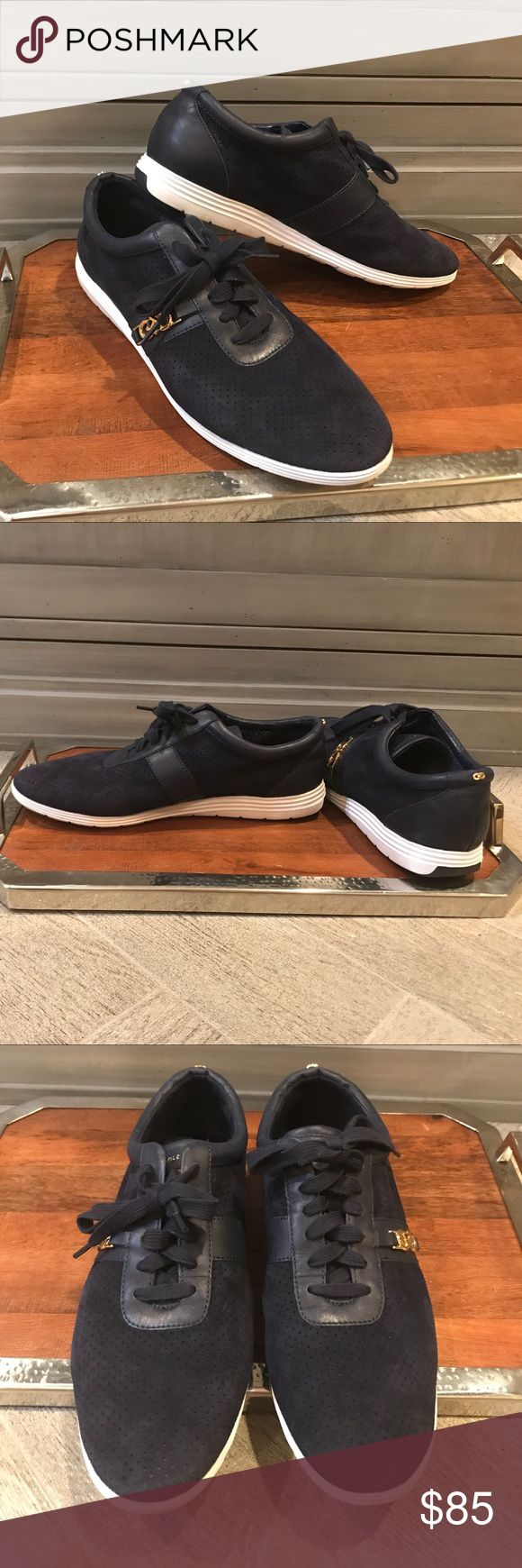 Cole Haan Bria blue suede sneakers Just worn in the store. Excellent condition. Perforated toe, gold logo on sides and back with leather trim detailing. A beautiful dressy-casual pair of sneakers. Cole Haan Shoes Sneakers