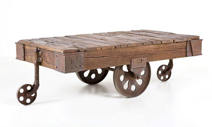 Mesa de centro Vintage Dirty Chic wheels - Center Table Vintage Dirty Chic wheels
