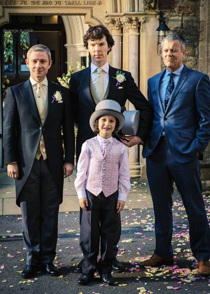"John, Sherlock, Archie, and Lestrade- It was originally captioned ""Kids are not my division."""