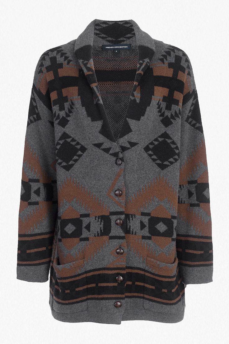 <ul> <li> Cotton and wool-blend coat-cardigan hybrid in ikat pattern</li> <li> Button-up front in faux-leather coated buttons</li> <li> Long sleeves</li> <li> Front patch pockets</li> <li> Unlined</li> <li> Oversized fit in longline length — falls generously over the body</li> <li> UK size M length from high shoulder neck point is 74cm</li> </ul>  <strong&...