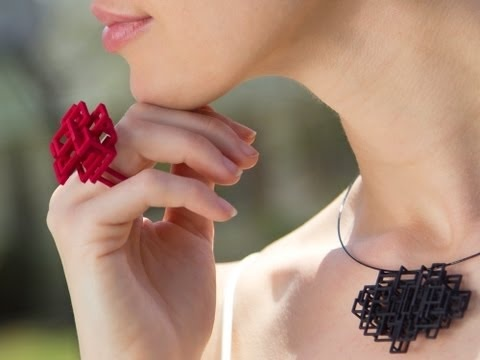 Geometric jewelry takes shape with 3D printing. http://www.thegrommet.com/melissa-borrell-3d-printed-jewelry/
