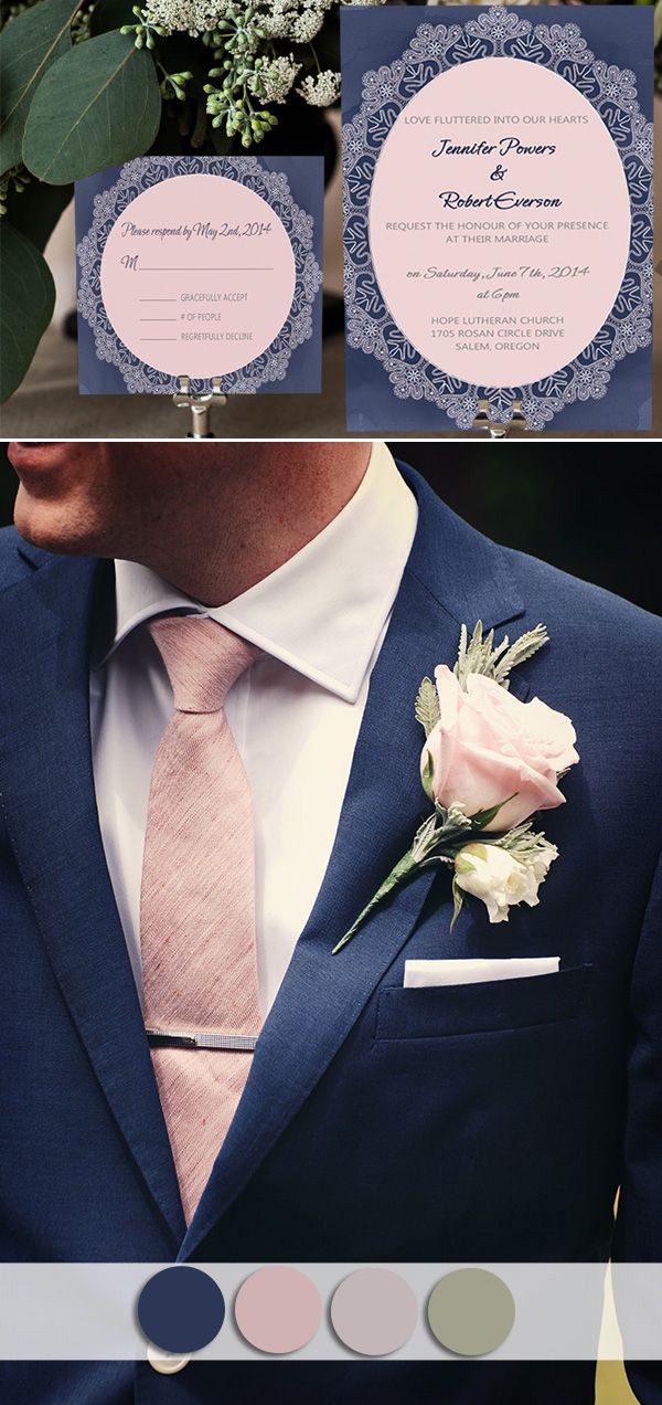 Navy blue and blush pink wedding colors inspired vintage wedding invitations