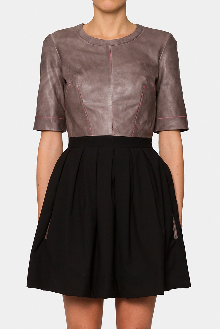 Ginger & Smart Perfect Darkness Leather dress - full exposed gold zipper in the back, perfect wool pleated skirt with pockets. Wannnttt now