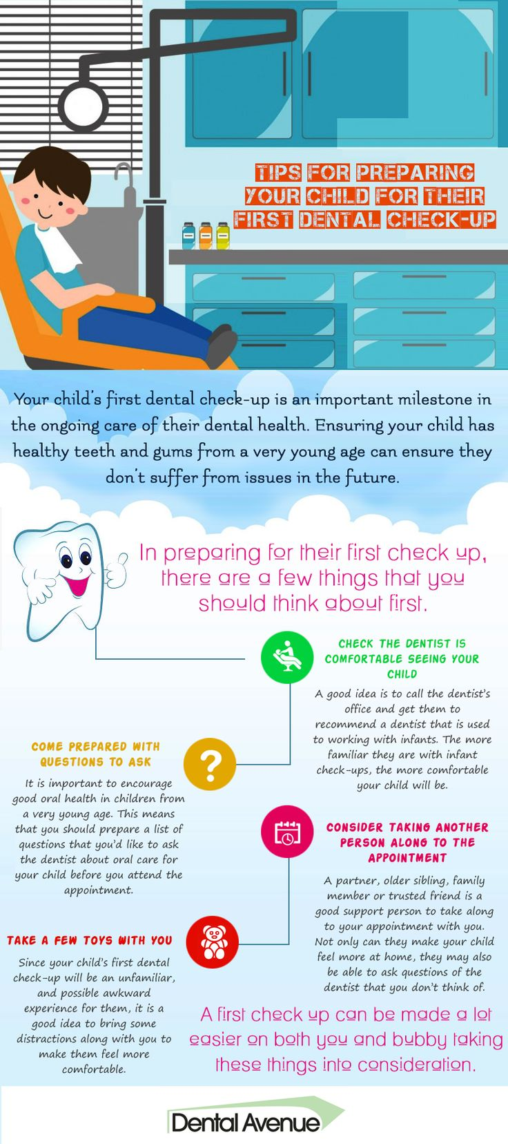 Before taking your child to a dentist for first #dental check-up, keep in mind these basic tips to ensure his/her safety and comfort. Go through this info-graphic and read the tips.