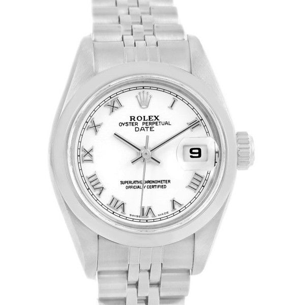 Pre-owned Rolex Date 79160 Stainless Steel White Roman Dial 25mm... (£2,630) ❤ liked on Polyvore featuring jewelry, watches, roman numeral wrist watch, white crown, dial watches, roman numeral watches and stainless steel watches