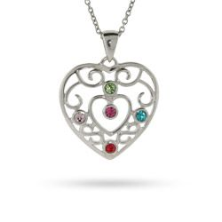 Absolutely GORGEOUS! 5 Stone Vintage Style Sterling Silver Filigree Birthstone Heart Pendant $48
