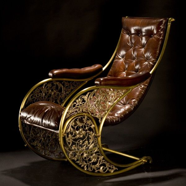 """Winfield Rocking Chair Ca1850 England. 43""""H x 27""""W. This looks very steampunk to me."""