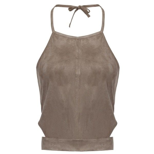 Suede Smocked Top CAMEL: Tank Tops | ZAFUL (55 QAR) ❤ liked on Polyvore featuring tops, smock tops, suede top, smocked top, brown tank top and brown tank