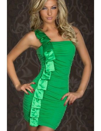 Green Elegant One-shoulder Satin Sexy Dress is a Stylish one-shoulder design and it looks unique with satin salmon. Ruched bodice allows it to fully unleash your sexy curves. Smooth back well highlights your plump hip and flattering figure. Elegant One-shoulder Mini Dress With Satin Salmon is definitely the perfect ensemble for a special occasion or just a night out.