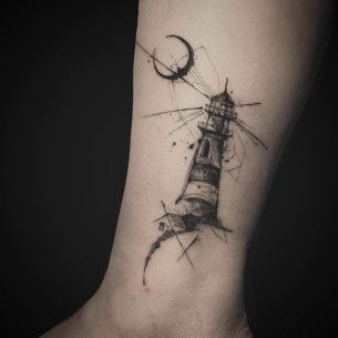 lighthouse tattoo and moon