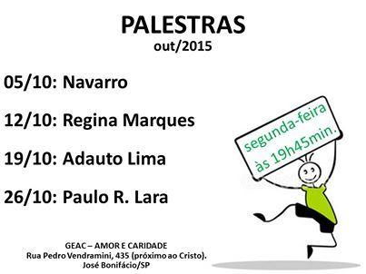 G. E. Amor e Caridade convida para suas palestras Out/2015 em José Bonifácio - SP - http://www.agendaespiritabrasil.com.br/2015/09/30/g-e-amor-e-caridade-convida-para-suas-palestras-out2015-em-jose-bonifacio-sp/