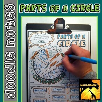 "Parts of a Circle: ""doodle notes"" - When students color or doodle in math class, it activates both hemispheres of the brain at the same time.  There are proven benefits of this cross-lateral brain activity:- new learning- relaxation (less math anxiety)- visual connections- better memory & retention of the content!Students fill in the sheets, answer the questions, and color, doodle or embellish."