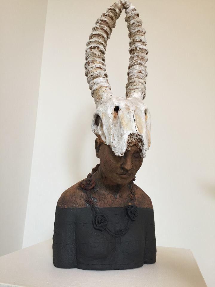 black and white - torso - Debra Fritts - figurative sculpture