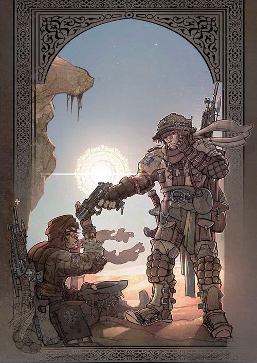 Illustration Desert warriors #worldwar #fantasy #steampunk #decorative #oldgun #leather #armor #design #concept #WW1