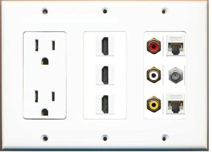 (3 GANG OUTLET)  3-HDMI Composite 3-RCA A/V 2 Cat5e Ethernet Coax TV Wall Plate #RiteAV