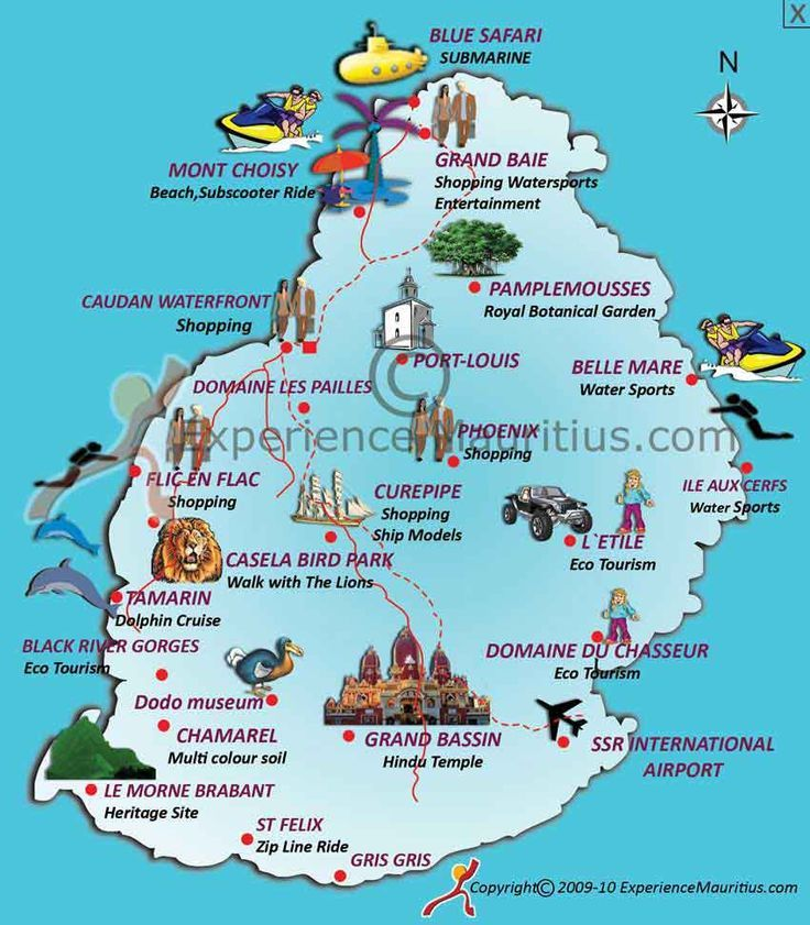 Mauritius (pronounced Mar-ish-us). A small island country off the east coast of Africa. This rich island seems comparable to a Caribbean island getaway… except a large amount of the locals in Mauritius are of Indian descent with either a Hindu or Islamic background and so the food served at restaurants often follow the rules of these religions. Cool! This map shows some popular tourist attractions. Hopefully I can use this one day.