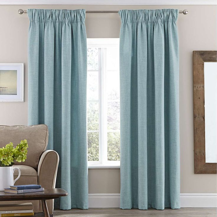 NOT like this - Duck Egg Vermont Lined Pencil Pleat Curtain | Dunelm