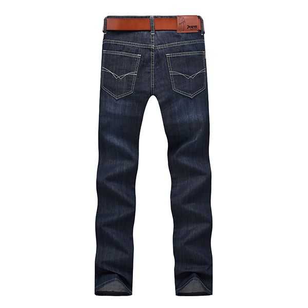 Para hombre otoño los pantalones vaqueros de pierna recta mediana altura ocasionales adelgazan los pantalones de mezclilla
