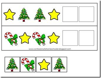 Christmas Pattern Activity: Use the game pieces to complete the pattern activity.