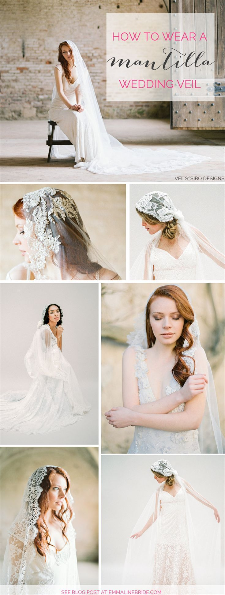 How to wear a mantilla wedding veil | veils by SIBO Designs