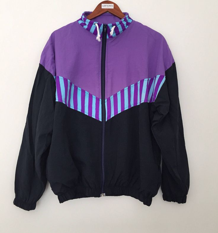 Vintage windbreaker / 90s windbreaker / 90s clothing / purple windbreaker / purple jacket / rave clothing / black windbreaker by LOFTOWN on Etsy
