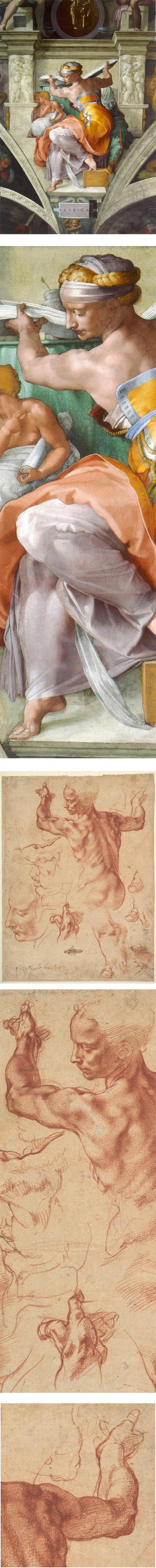 MICHELANGELO Buonarroti (1475-1564) - The Libyan Sibyl and Studies, 1511, Cappella Sistina, Vatican