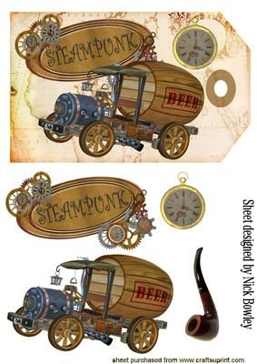 STEAMPUNK BEER WAGON WITH PIPE ON A TAG on Craftsuprint designed by Nick Bowley - STEAMPUNK BEER WAGON WITH PIPE ON A TAG, Lots of other steampunk designs to see - Now available for download!