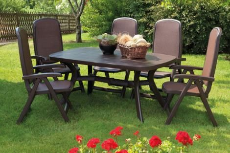 NARDI DELTA RECLINING 7 PIECE OUTDOOR DINING SETTINGS