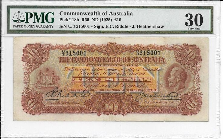 AUSTRALIA R55 (1927) 10 Pounds-Riddle/Heathershaw KGV PMG 30 VERY FINE RARE COND