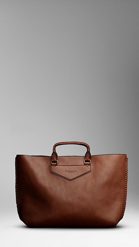 Burberry - Oversize leather tote with braided leather detail.