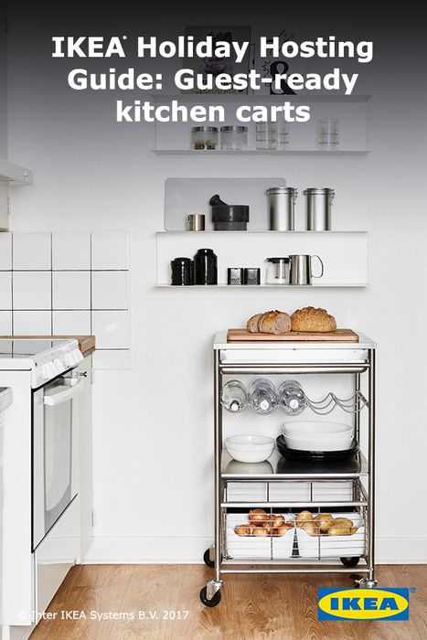 Be ready to roll on holiday guest requests with more space to work, eat and store. Whether your kitchen is large or small, extra space always helps. We've got the perfect-sized island and wall storage for every home chef. Click for more IKEA carts perfect for hosting with ease.