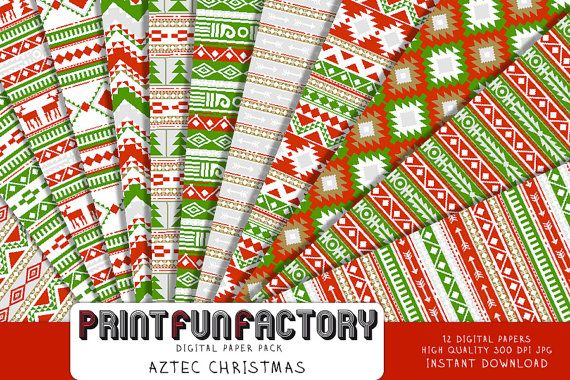 Aztec Christmas digital paper set of 12 digital paper background collage sheets. Theme: Aztec bright Christmas. Including: 12 different aztec