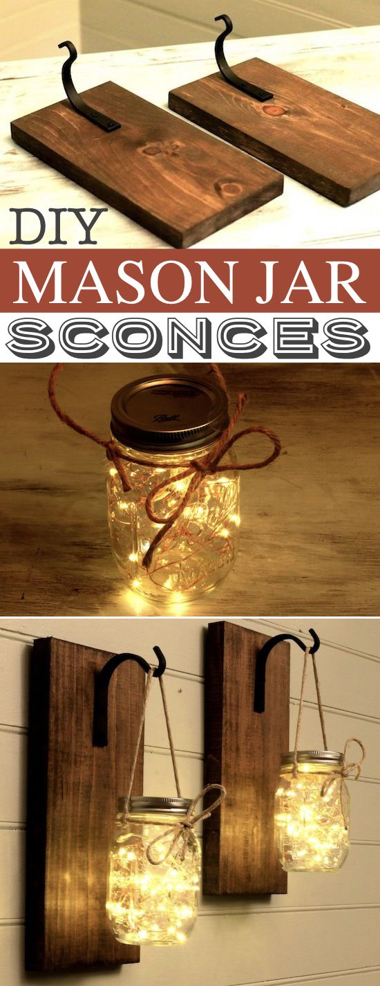 DIY Mason Jar Sconces -- A lot of DIY mason jar crafts, ideas and projects here! Some really great home decor and gift ideas. Listotic.com