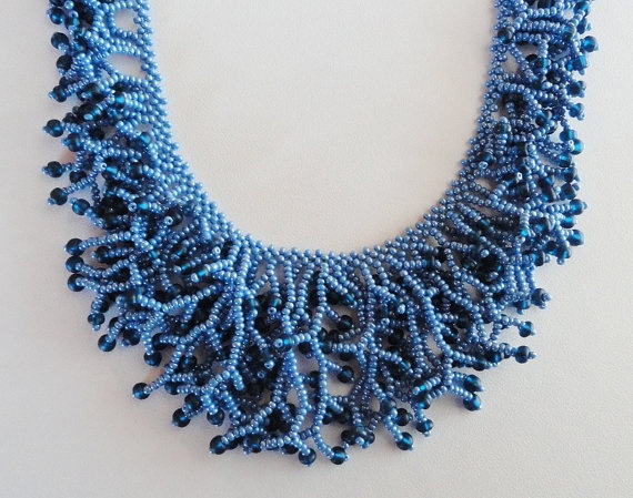 Blue and montana blue beaded fringe necklace by SlaveToBeads, $6.00