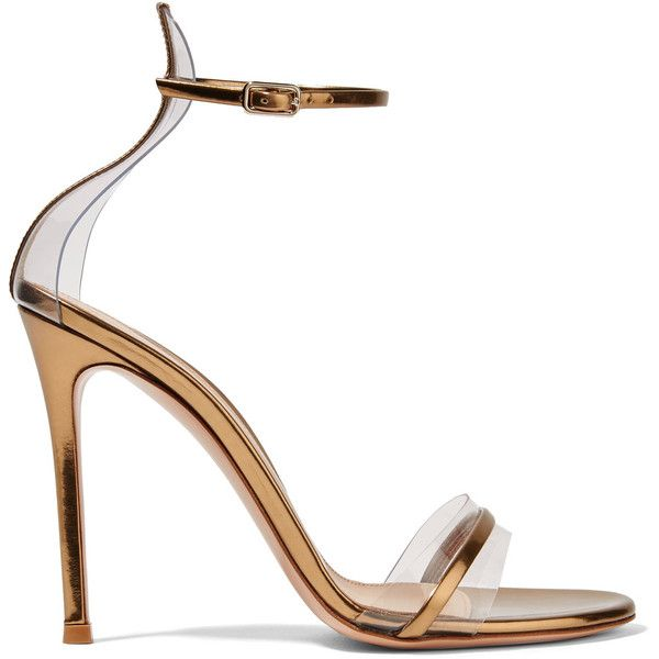 Gianvito Rossi Portofino 100 PVC-trimmed metallic leather sandals ($845) ❤ liked on Polyvore featuring shoes, sandals, gold, leather strap sandals, high heel stilettos, high heels sandals, metallic sandals and high heel shoes
