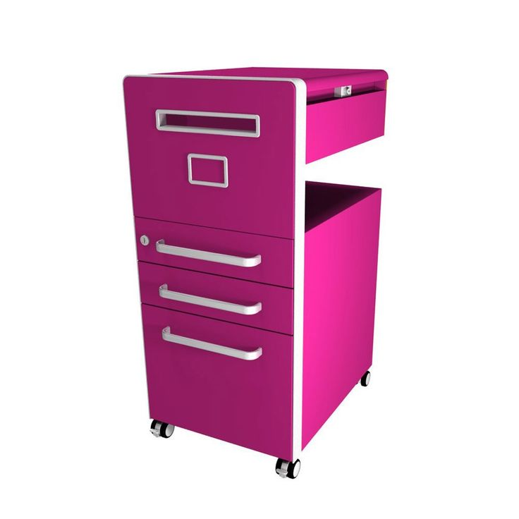 Bisley Bite 3 Drawer Mobile Storage Unit - Left Handed - Fuchsia | Available as left or right-handed, Bisley's Bite Mobile Storage Units are a great way to get your desk area organised, providing lockable, versatile storage with a vast array of custom options to suit you!!